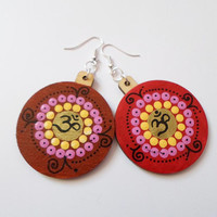 Red Brown Wooden Earrings Jewelry, Yoga Zen jewelry Earrings, Om symbol earrings, Boho Bohemian Jewelry, Mandala Dot Art earings jewelry,