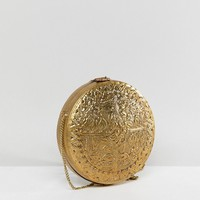 Park Lane Etched Metal Round Bag at asos.com