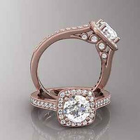 AMAZING 4.60CT WHITE ROUND 925 ROSE STERLING SILVER ENGAGEMENT AND WEDDING RING