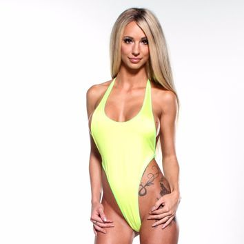 Solid Yellow Sexy Monokini One Piece Micro G String Thong Bikini Sling with Neon Green