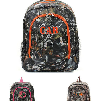 """Personalized 16"""" Real Tree Camo School Backpacks With Pink, Orange, or Black Trim Monogrammed Free"""