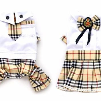 Pet Dog Plaid Dress jumpSuit Lover clothes Cat Puppy Shirt Pants Spring Summer Clothes