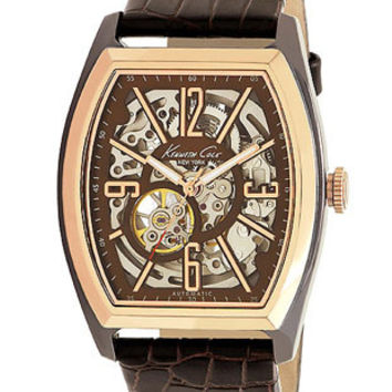Kenneth Cole Mens Automatic Watch - Brown w/ Rose Gold-Tone Case - Skeleton Dial