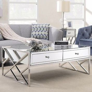 Chrome Mirrored Coffee Table Silver Drawers Modern Contemporary Steel Glass   eBay