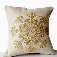 Ivory Burlap Pillows -Christmas Pillow -Snowflake -Cream Throw Pillow Cover -Christmas Cushion -Gold Sequin Snow Pillow -16x16 -Bedding Gift