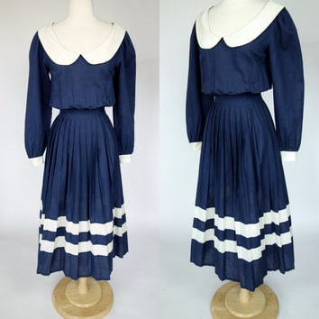 1980s navy blue dress w peter pan collar and pleated white striped skirt, fit and flare, nautical cotton linen long sleeve dress, XS, 4