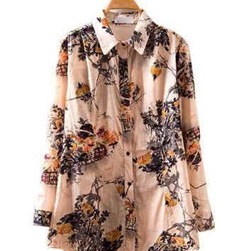 Yellow Ink Floral Print Long Sleeve Collared Shirt