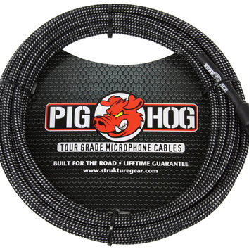 Pig Hog Black & White Woven Mic Cable 20FT XLR