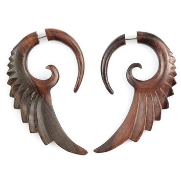 "Angel Wing Earrings - Organic Fake Gauge Tribal Earrings - Wood Earrings Fake Piercing - Sono Wood ""Spiral Angel Wing"" Earrings - SUPER SALE"