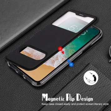 DCCK3SY iPhone X Case, FYY Magnetic Cover Stand Case with Window View Function for Apple iPhone X Edition(2017) Black