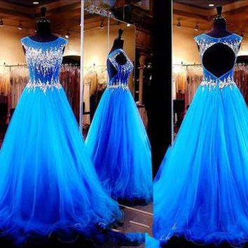 Sexy Prom Dress Long Tulle Royal Blue Evening Gowns Elegant Sparkly Backless Formal Party Dresses 20