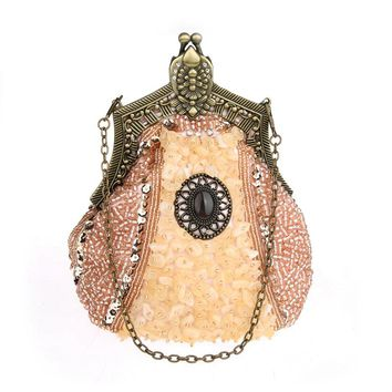 Vintage Women Rhinestones Day Clutches Bling Beading Diamond Party Wedding Eveing Bags Retro Small Chain Handbags and Purses