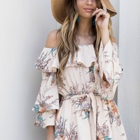 No Judgment Cream Ruffle Detail Romper