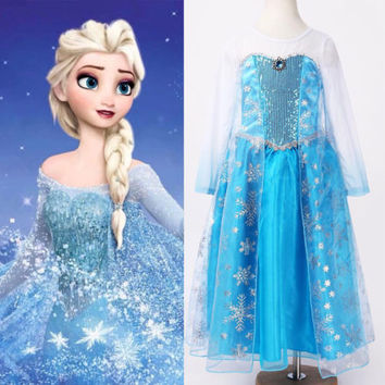 Halloween  Princess kids Girls Queen Elsa Cosplay Fancy Dress Costumes Children Cartoon Costumes