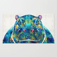 Hippopotamus Art - Happy Hippo - By Sharon Cummings Rug by Sharon Cummings
