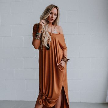 High Tides Side Slit Maxi Dress - Coffee