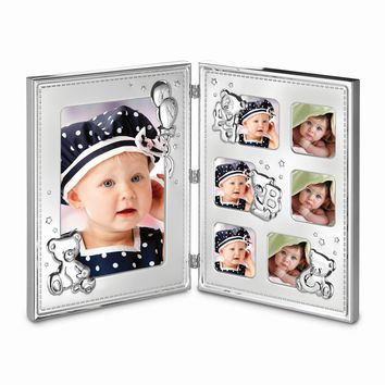 Double Hinged Metal Baby Photo Frame