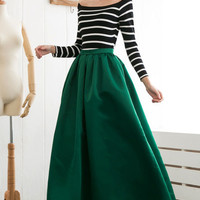 Olive Green Striped Long Sleeve Maxi Dress