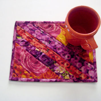 Quilted Mug Rug Snack Mat Coaster Placemat #98 Upcycled Repurposed Eco-Friendly Fall Florals