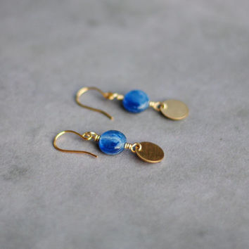 Blue Kyanite Dangle Earrings // Natural Kyanite Jewelry, Handmade Gold Dangle Earrings, Everyday Boho Earrings E022 by Indigo Lunch
