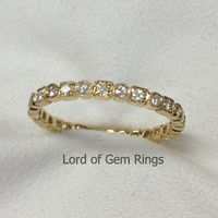 Wedding Band Round Cut Charles & Colvard Moissanite Stackable 14K Yellow Gold Full Eternity Ring,Art Deco Antique Style Anniversary Ring