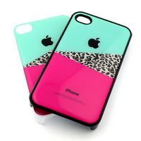 IPHONE 4s 4 Plastic Cover Snap Case Teal Pink Cheetah by STUCHI