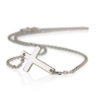 Silver Cross Pendant Necklace-Sideways Cross Necklace (16 Inches)