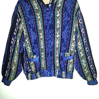 80s REVERSIBLE JACKET Zip Up Navajo Aztec Boho Hippie Surfer Stoner Tribal print Size XL