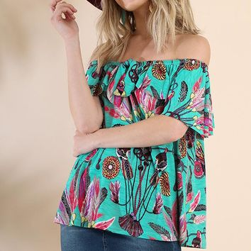 Feather print off the shoulder top