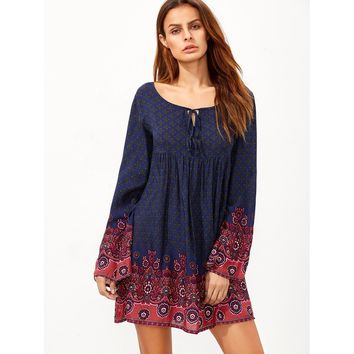 Bohemian Peasant Dress - Multi