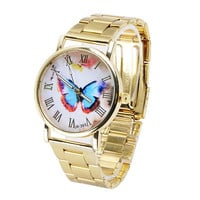 Ulamore  Womens Gold Dial Butterfly Pattern Analog Quartz Dress Wrist Watch (Size: 23CM, Color: Gold) = 1956498500