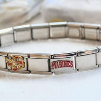 Stainless Steel USMC Mom Bracelet Magnetic US Marine Corps Italian Charm 20 Links