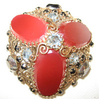 Vintage Rhinestone Fiigree Brooch with Red Cabochons Unsigned Schreiner