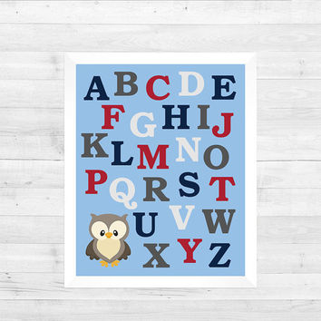 Letters in Light Blue Red Gray and Navy Nursery Decor Baby Boy CUSTOMIZE YOUR COLORS 8x10 Prints Nursery Decor Art Baby Room Decor Kids