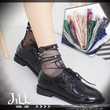 lolita vivi imitation pearl metallic yarn see through tulle socks【J1A048】