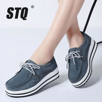 STQ 2018 Spring women flats leather suede moccasins black platform sneakers heels shoes ladies lace up casual flats creepers 526