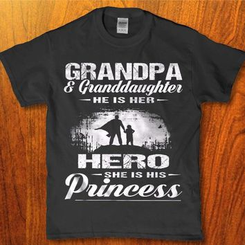 Grandpa and Granddaughter he is her hero she is his princess mens t-shirt