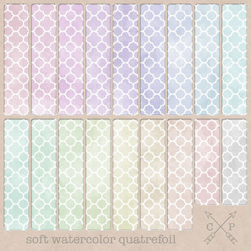 Quatrefoil Watercolor Digital Paper pack Soft Pastel. Great for scrapbooking, card making, paper crafting, blog backgrounds, graphic design