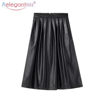 Aelegantmis Long Pleated Leather Skirt Women Black High Waist Skirts 2018 Spring Female Vintage Sexy Pleated Skirt With Pocket