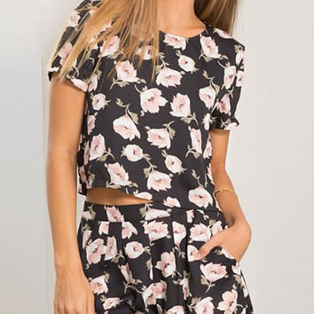 Summer Bohemian Flowers Printed Black Short Sleeve Two-piece Rompers