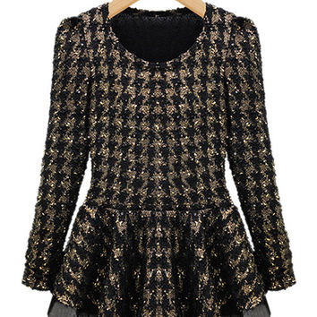 Black Glitter Sequined Long Sleeve Skater Dress