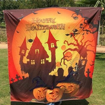 1pc Halloween Tapestry Beach Towel Hippie Wall Hanging Bed Sheet Dorm Sofa Cover Curtain Table Cloth Home Party Decor