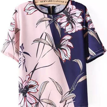 Pink and Blue Color Block Short Sleeve Floral Blouse