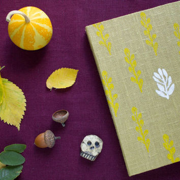 Handmade journal with herbal pattern, handmade notebook, sketchbook, homemade paper, gift ideas, halloween
