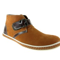 Mens Rocus Ankle High Monkstrap Suedette Boots XH-B3 Light Brown