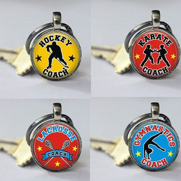 Keychain Keyring Sports Coach Hockey Karate Lacrosse Gymnastics