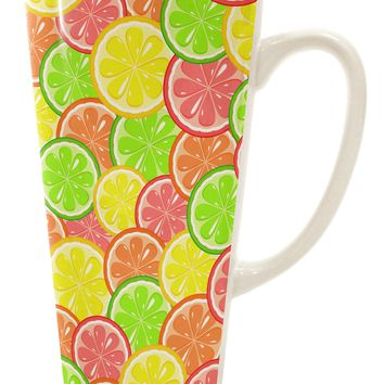 Colorful Citrus Fruits 16 Ounce Conical Latte Coffee Mug All Over Print