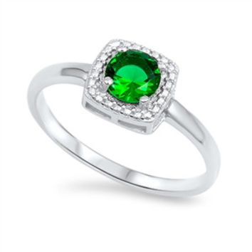 925 Sterling Silver CZ Round Simulated Diamond and Simulated Emerald Halo Ring 8MM