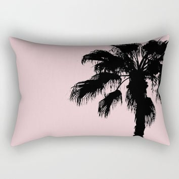 Palm Tree Silhouettes On Pink Rectangular Pillow by ARTbyJWP