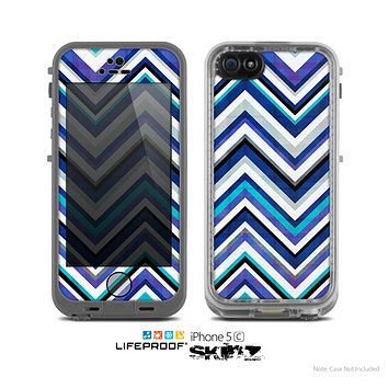 The Vibrant Blue Sharp Chevron Skin for the Apple iPhone 5c LifeProof Case